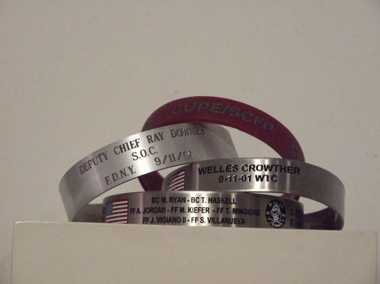 Some examples of the bracelets made to remember those lost in the attack