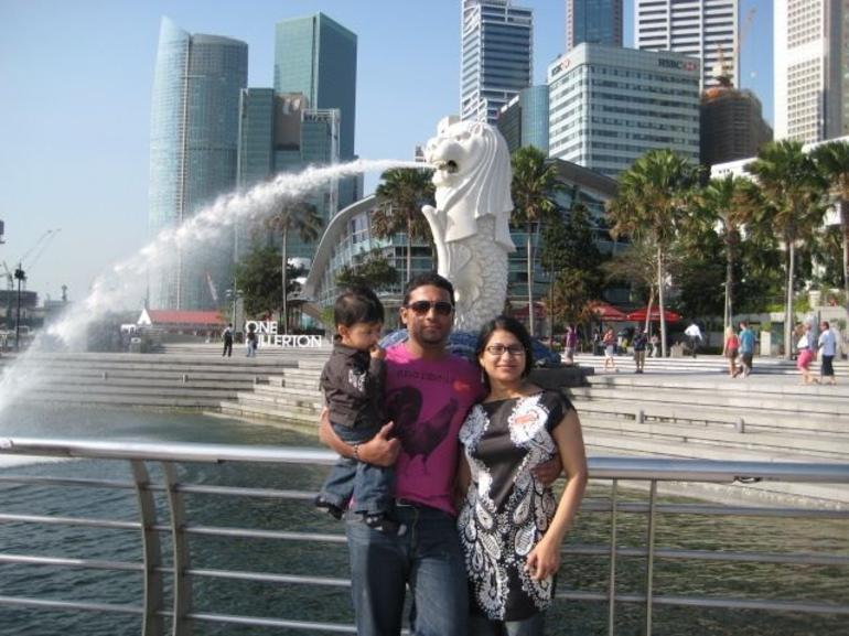 In Front of the Merlion in Singapore - Singapore