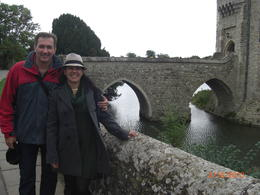 My husband and I near the entrance the Leeds Castle. The gardens are wonderful. , regina - October 2013