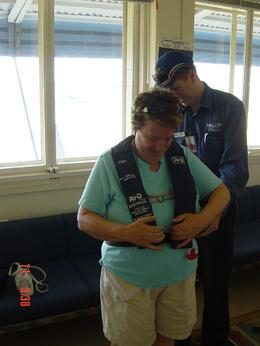 This is me putting on my life jacket!, Patricia J - November 2007