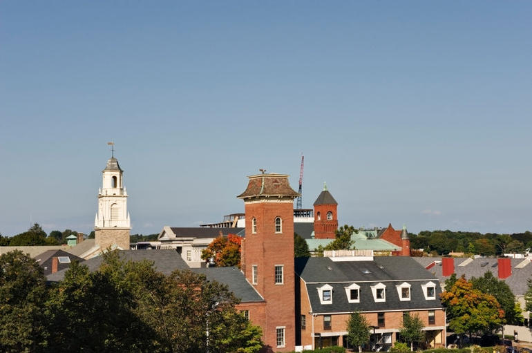 Salem rooftops and church - Boston