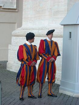 Swiss Guard at the Vatican. This was taken on the Sunday morning when the Pope was presiding over Mass., Stewart S - November 2009