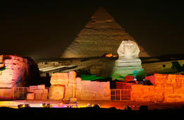 The Sound & Light Show in Giza, Cairo, lights up the historic monuments - July 2011