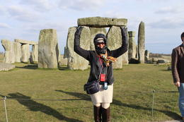 "My wife Bernadette showing off her and ""Magical powers"" at Stonehenge. , Pedro L - May 2013"