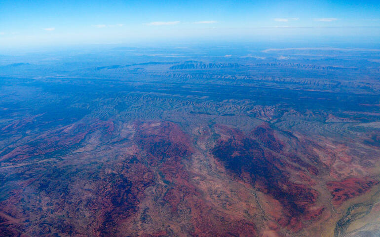 View of Australian outback by balloon - Alice Springs
