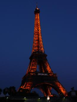 Just coming back from the Seine River cruise with the Eiffel Tower all lit up in the background., Kelly H - August 2010