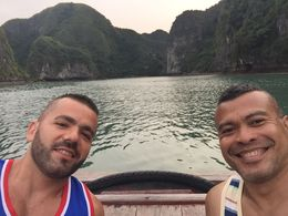 Rory and Ricardo were enjoying the moment before the sunset at Halong Bay , Ricardo Reynald N - January 2016