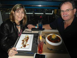 Angela and Leon enjoying an amazing trip and meal on the Flyer , Leon N - November 2013