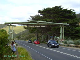 Great Ocean Rd Memorial Gate (Urquhart Bluff). Stopped for photo opportunity prior to lunch stop in Lorne. , Geoff P - January 2011