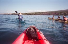 We headed off the beach toward the snorkel site. The kayak was easy to maneuver and the seas are calm in this part of Maui., John C - December 2010