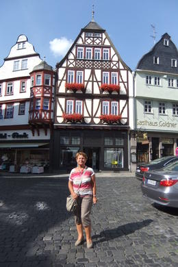 Anna at town square with medieval buildings in Limburg, during Cologne Day Trip from Frankfurt. , Mario S - July 2014