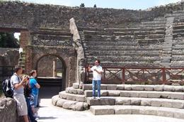 Our guide explains the seating arrangements in the small theatre. - May 2008