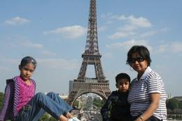In Paris, Dipannita, HImadri and Uma at the Eiffel from the Trocadero., Dipannita B - June 2010