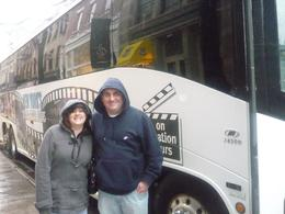 Myself and my wife outside the movie tour bus., Desmond O - March 2010