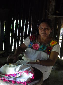 Dona Aurelia making corn tortillas. , Otilia M - June 2014