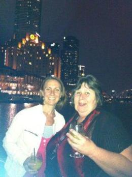 My daughter Kelly-anne and I, enjoying the lights by night on the Yarra.. , ree - April 2012