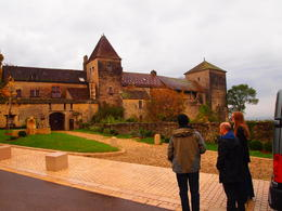 Our guide pointing out the Gevrey-Chambertin castle, Rachel - November 2013