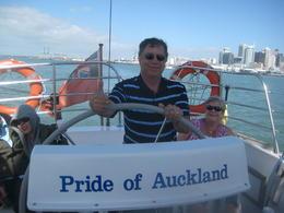Jack took a turn sailing the boat ~ great fun! , Joan D - March 2012