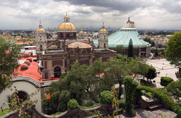 A view of the old Guadalupe Basilica and the modern one, seen from Tepeyac Hill. - June 2011