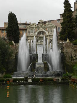 Beautiful made man waterfalls and fountains are throughout the gardens at Villa d'Estes. , Peg B - February 2014