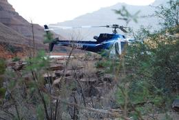 Photo of Las Vegas Ultimate Grand Canyon 4-in-1 Helicopter Tour Helicopter at the edge of the Colorado River, Grand Canyon