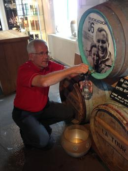 Pouring my own bottle of 22 year old Bruichladdich at the distillery , David N N - August 2014