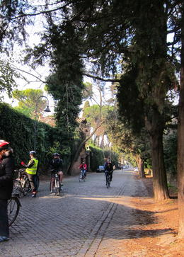 Photo of Rome Ancient Appian Way, Catacombs and Roman Countryside Bike Tour Riding on the Appian Way.