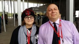 My daughter and one of the tour guides from Stonehenge in front of the Stonehenge center. , Ed C - June 2015