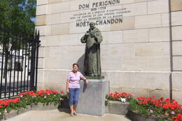 Anna by the statue of Dom Perignon at Moet and Chandon , Mario S - June 2014