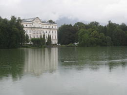 View across the lake of Leopold's Palace, where the back yard/terrace scenes were filmed , Erin C - August 2011