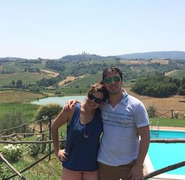 Our view at the winery where we had a delicious lunch and a nice tour. Only thing that would have made it better is if we had been allowed to take a dip in the pool. : Breathtaking spot. , laurasassano - July 2015