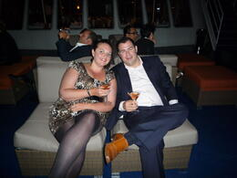 Simon and Verity on deck of the World Yacht Duchess enjoying a delicious cocktail!! , Simon H - November 2011