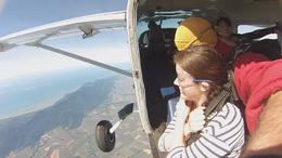 Just about to jump out of the plane , Sophia B - July 2014