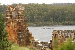 Smack in the middle of Macquarie Harbour, and a few miles from a huge stand of Huon Pine, the best wood for boat building. The English jailers turned their prison into a boatyard once they realised..., RobC - December 2010