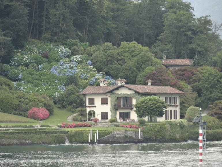 Beautiful Hydrangeas and Villa on Lake Como.