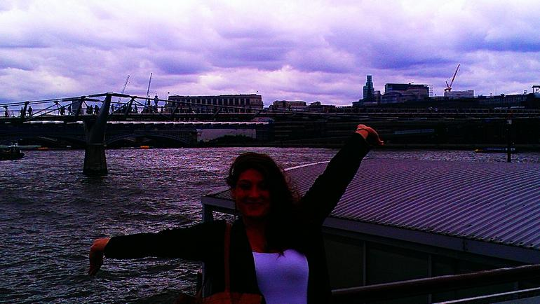 Me in front of the Millennium Bridge - London