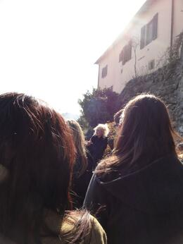 Standing on the Rufina Hills listening to our guide explaining the history of this small village , Caroline - March 2011