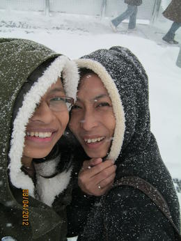 Me and sis enjoying the snow! , Lin M - April 2012
