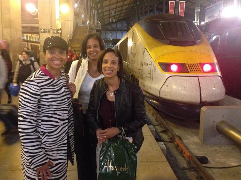 Roblyn Hymes, Nina Childress, and Nancy Riley heading back to Paris from our London day trip.