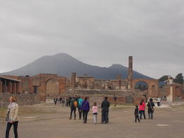 This is a photo taken from/of the main social square in Pompeii. You can see the huge crater of Mt Vesuvius in the background, it is a very interesting place with a great view. , btwoodson - November 2014