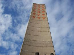 Erected by DDR to remember the dead! Each orange triangle represents a country., Wilfred M - October 2008