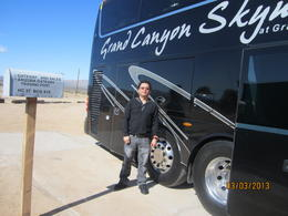 Photo of Las Vegas Grand Canyon and Hoover Dam Day Trip from Las Vegas with Optional Skywalk Taken beside the Viator.com  tour bus..