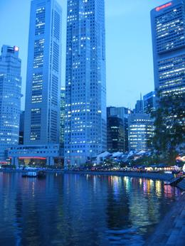 We had dinner by boat quay. The lights of the city were beautiful at dusk., Debbie P - May 2008