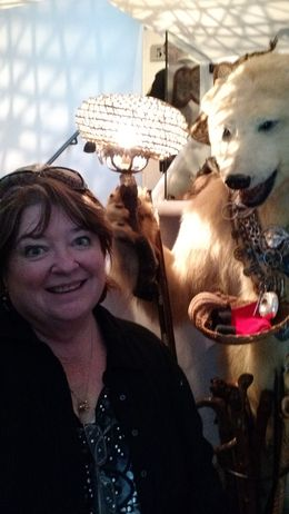 Here's Debi meeting Dali's stuffed polar bear! , Robert H - November 2015