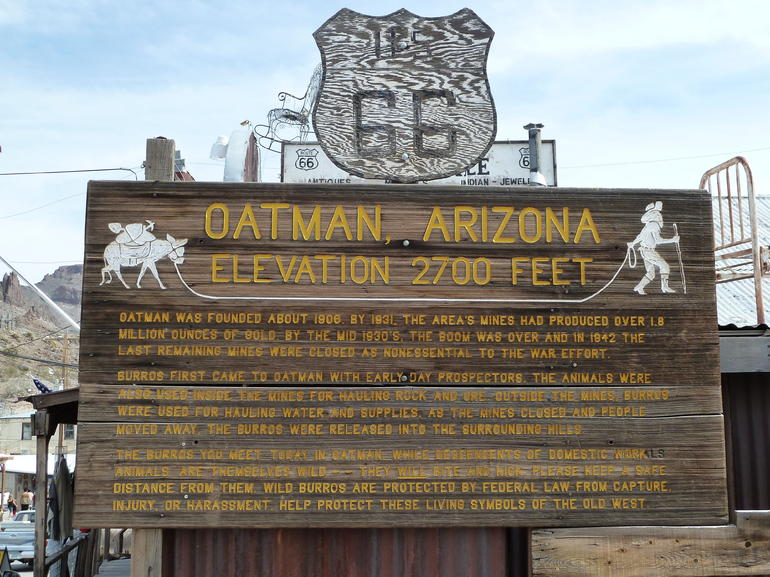 Hisotic Oatman Ghost Town sign - Las Vegas