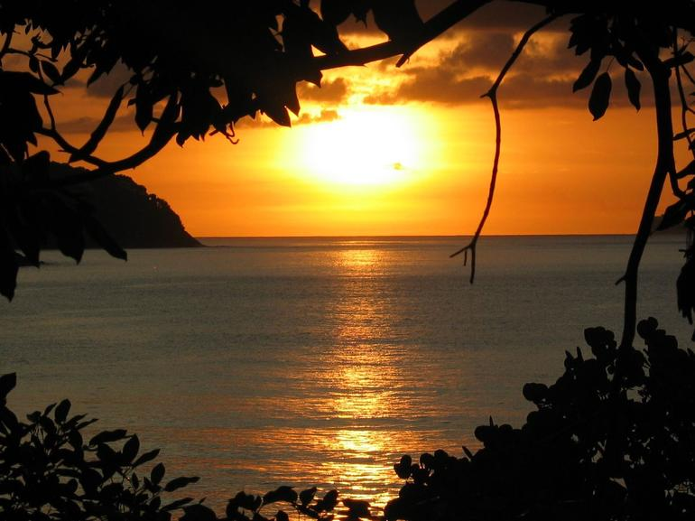 Sunset from our balcony at Bay Gardens Beach Resort - St Lucia