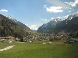 A picturesque town photo taken while aboard the Bernina Express. The Swiss Alps are in the background. Taken in late March 2008. - April 2008