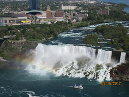 Taken from the top of the tower, we could see the rainbow in from of the falls. , Sue B K - May 2012