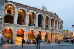 The Verona Arena is an ancient Roman amphitheatre that is internationally famous for the large-scale opera performances given there. - May 2011