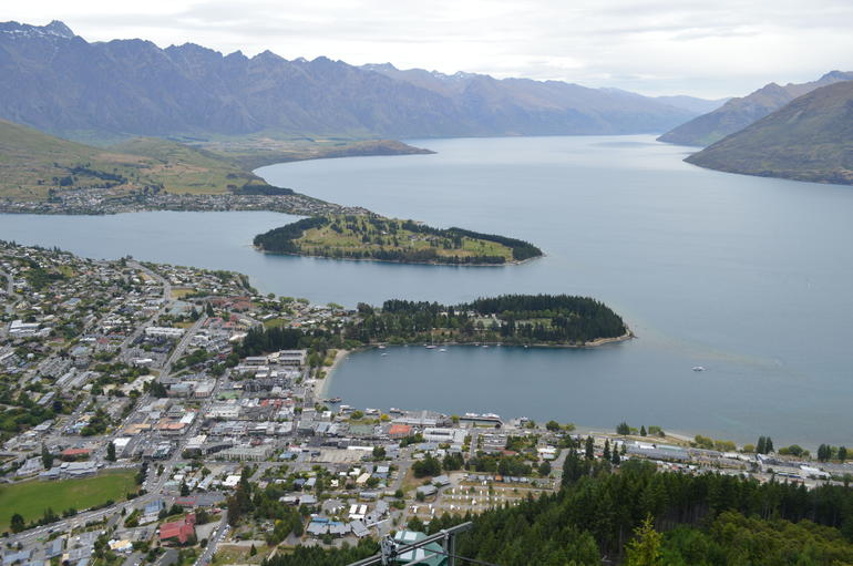 View of Queenstown from the restaurants lookout deck